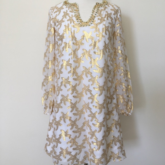 3e7b0eeca2e Lilly Pulitzer Dresses | Silk Tunic Dress Metallic Starfish | Poshmark